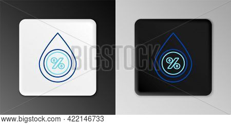 Line Water Drop Percentage Icon Isolated On Grey Background. Humidity Analysis. Colorful Outline Con