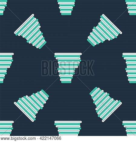 Line Tornado Icon Isolated Seamless Pattern On Black Background. Cyclone, Whirlwind, Storm Funnel, H