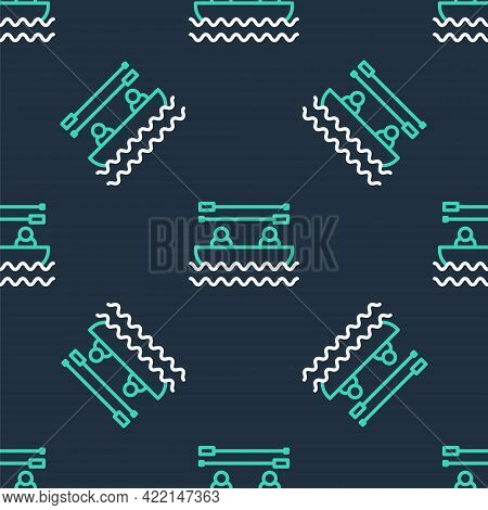 Line Boat With Oars And People Icon Isolated Seamless Pattern On Black Background. Water Sports, Ext