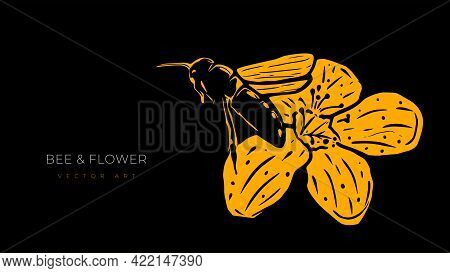 Vector Illustration Of Flying Bee And Flower Isolated On Black Background. Modern Wall Art, Poster O