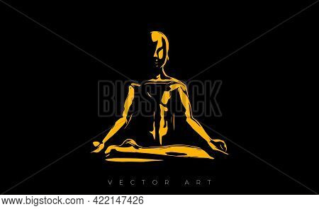 Vector Illustration Of A Man Who Sits In The Lotus Position And Meditates. The Image Of A Man Doing