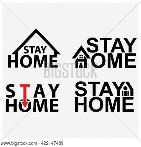 Stay Home Typography With House. Creative Lettering Vector.
