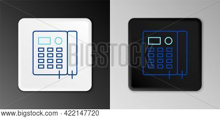 Line Telephone Icon Isolated On Grey Background. Landline Phone. Colorful Outline Concept. Vector