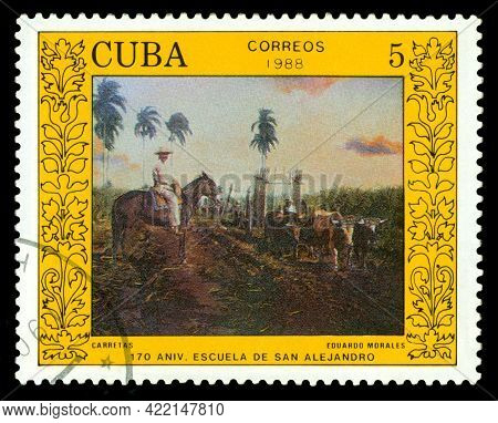 Stavropol, Russia - May  28.  2021:  A Stamp Printed By Cuba  Shows  Carts  By Eduardo Morales, 170