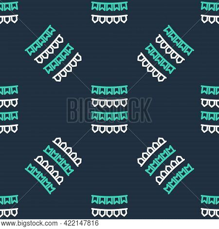 Line Carnival Garland With Flags Icon Isolated Seamless Pattern On Black Background. Party Pennants