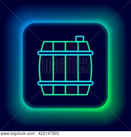 Glowing Neon Line Wooden Barrel Icon Isolated On Black Background. Alcohol Barrel, Drink Container,