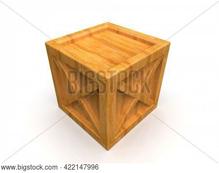 ShipmentSealed GoodsWooden Box isolated on White Background,PalletCargo Case IndustrialCrate or ContainerBox for Storage, Logistic Transportation and Delivery, Warehouse Concept, 3d Illustration