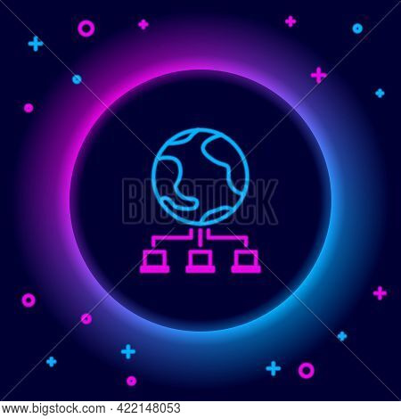 Glowing Neon Line Computer Network Icon Isolated On Black Background. Online Gaming. Laptop Network.