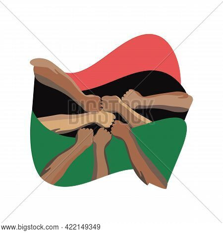 Pan African Flag Or African  Flag, Black Liberation Flag. Against The Background Of The Black Flag O