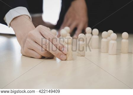 Human Resources. Business People Choosing Wooden Leader Man From Crowd Of Employee On Desk, Team Lea
