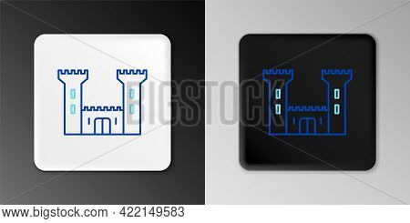 Line Castle Icon Isolated On Grey Background. Fortress Sign. Colorful Outline Concept. Vector