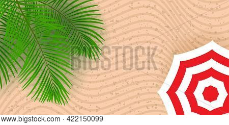 Top View Of The Sandy Beach. Beach Umbrellas And Palm Tree.