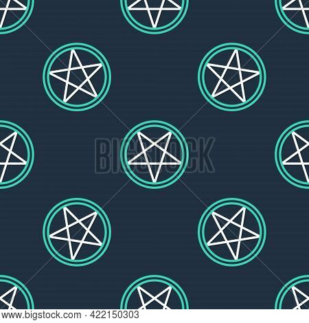 Line Pentagram In A Circle Icon Isolated Seamless Pattern On Black Background. Magic Occult Star Sym