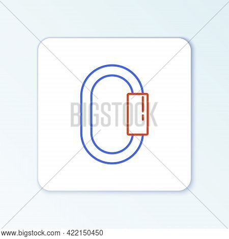 Line Carabiner Icon Isolated On White Background. Extreme Sport. Sport Equipment. Colorful Outline C