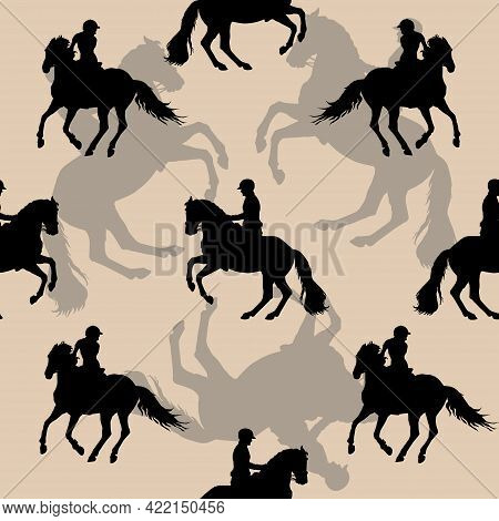 Seamless Sports Background, Equestrian Sports, Silhouettes Of Riders On White And Colored Background