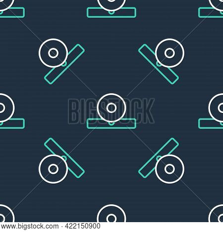 Line Otolaryngological Head Reflector Icon Isolated Seamless Pattern On Black Background. Equipment