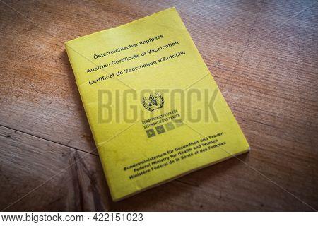 Vienna, Austria - May 30 2021: Austrian Certificate Of Vaccination, Called Oesterreichischer Impfpas
