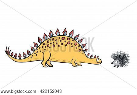 Funny Dinosaur Character For Kids Fashion Or Childrens Room Design. Cute Hand Drawn Mascot For Toddl