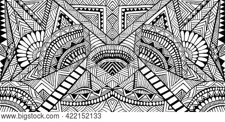Geometric Abstract Pattern With Maze Of Ornaments Coloring Page For Adult And Kids
