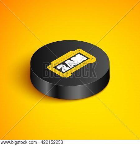 Isometric Line Digital Alarm Clock Icon Isolated On Yellow Background. Electronic Watch Alarm Clock.