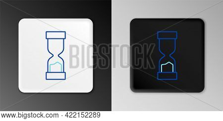 Line Old Hourglass With Flowing Sand Icon Isolated On Grey Background. Sand Clock Sign. Business And