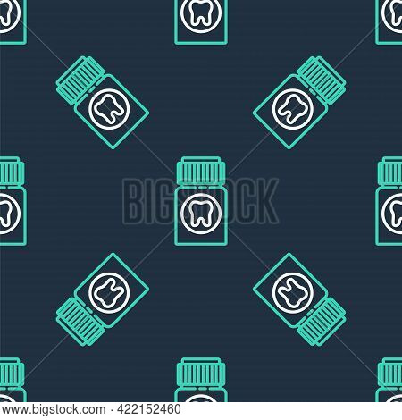 Line Toothache Painkiller Tablet Icon Isolated Seamless Pattern On Black Background. Tooth Care Medi