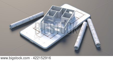 Construction Project, Architect Engineer Mobile Phone Concept. Smartphone, House Model And Blueprint