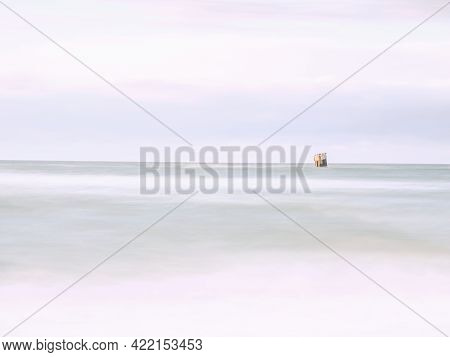 Summer Sunset On The Gulf, Long Exposure Of Calm Ocean