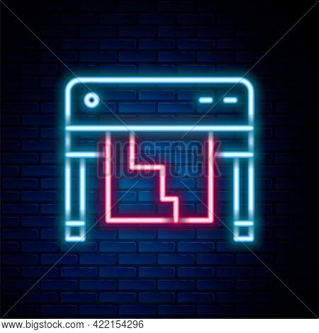 Glowing Neon Line Plotter Icon Isolated On Brick Wall Background. Large Format Multifunction Printer