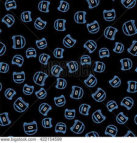 Line Stereo Speaker Icon Isolated Seamless Pattern On Black Background. Sound System Speakers. Music