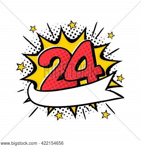 Comic Logo For 24h Express. Bright Yellow Explosion With Stars. Black Halftones In Retro Card. Vecto