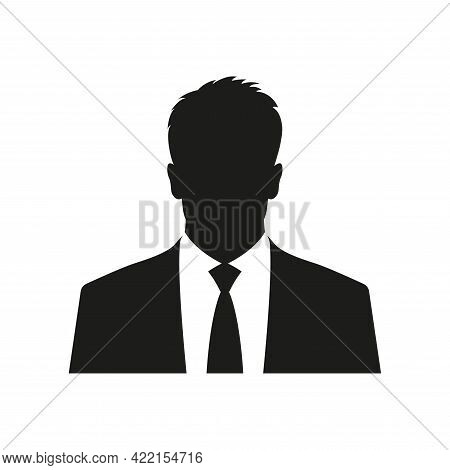 Business Man Icon. Male Face Silhouette With Office Suit And Tie. User Avatar Profile. Vector Illust