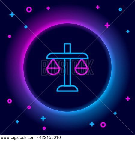 Glowing Neon Line Scales Of Justice Icon Isolated On Black Background. Court Of Law Symbol. Balance