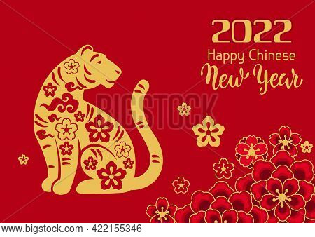 Happy Chinese New Year Greeting Card. Background With Tiger Symbol Of 2022.