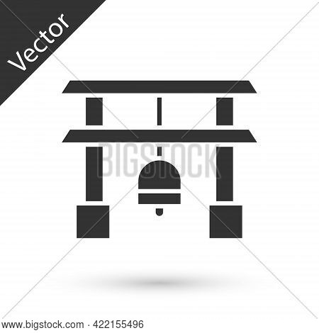 Grey Japan Gate Icon Isolated On White Background. Torii Gate Sign. Japanese Traditional Classic Gat