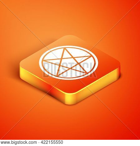 Isometric Pentagram In A Circle Icon Isolated On Orange Background. Magic Occult Star Symbol. Vector