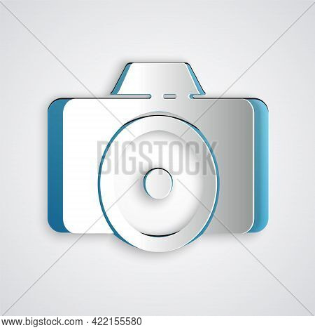 Paper Cut Photo Camera Icon Isolated On Grey Background. Foto Camera Icon. Paper Art Style. Vector I