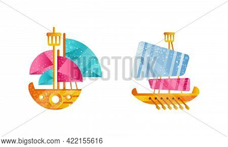 Yachts Set, Sailing Ships With White And Red Sails, Ocean Or Marine Transport Flat Vector Illustrati