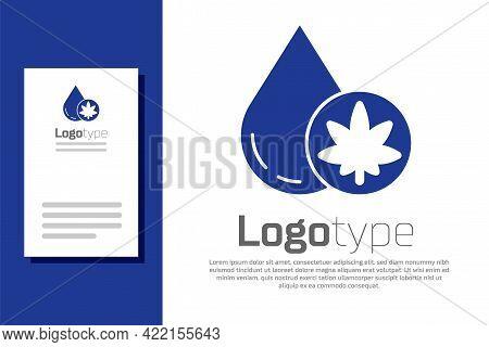 Blue Medical Marijuana Or Cannabis Leaf Olive Oil Drop Icon Isolated On White Background. Cannabis E