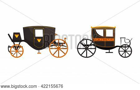 Fairy Vintage Brougham Set, Old Carriage For People Transportation Flat Vector Illustration