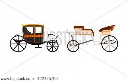Vintage Brougham Set, Side View Of Old Carriage For People Transportation Flat Vector Illustration