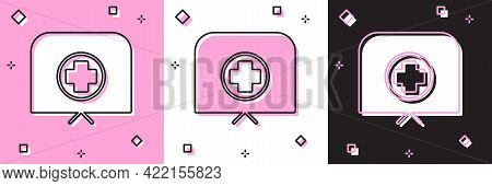 Set Nurse Hat With Cross Icon Isolated On Pink And White, Black Background. Medical Nurse Cap Sign.