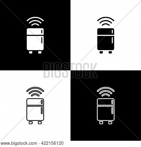 Set Smart Refrigerator Icon Isolated On Black And White Background. Fridge Freezer Refrigerator. Int