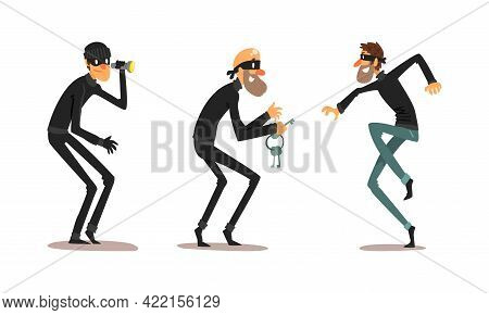 Robber Characters Set, Male Burglars Dressed Black Clothing In Masks Committing Crime Cartoon Vector