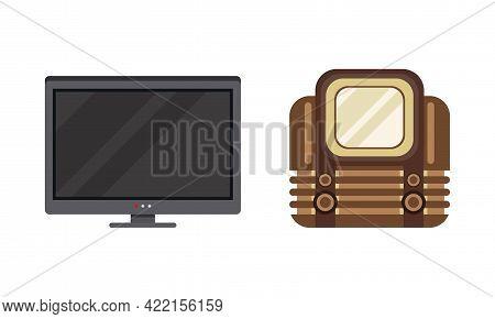 Retro And Modern Television Set, Analogue And Digital Tv Flat Vector Illustration