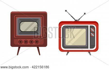 Retro Television Set, Analogue Old Obsolete Tv Flat Vector Illustration