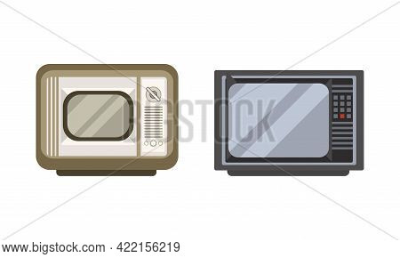 Retro Television Set, Fron View Of Analogue Old Obsolete Tv Flat Vector Illustration