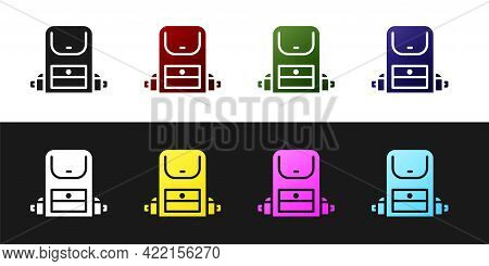 Set Hiking Backpack Icon Isolated On Black And White Background. Camping And Mountain Exploring Back