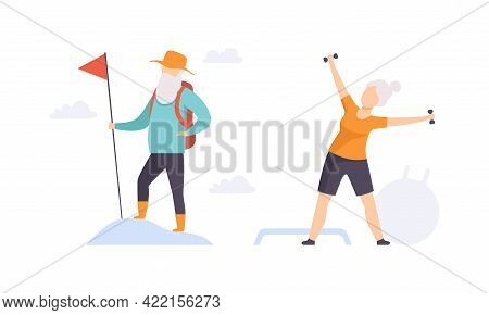 Elderly People Hobbies Set, Senior Woman Exercising With Dumbbells, Senior Man Hiking With Backpack,