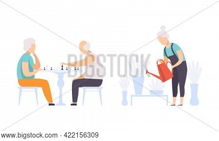 Elderly People Hobbies Set, Senior Man Playing Chess And Senior Woman Watering Flowers, Active Lifes